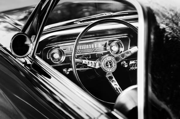 Prototype Photograph - 1965 Shelby Prototype Ford Mustang Steering Wheel Emblem by Jill Reger
