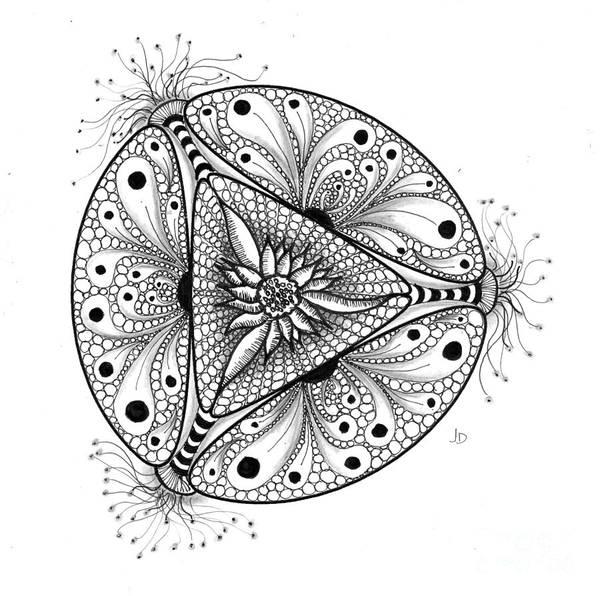 Organic Form Drawing - 3 - 3 Pt Symmetry by Jeaanne Donovan