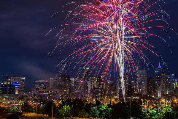 Mile High City Photograph - 4th Of July Fireworks Over Denver Skyline by Bridget Calip