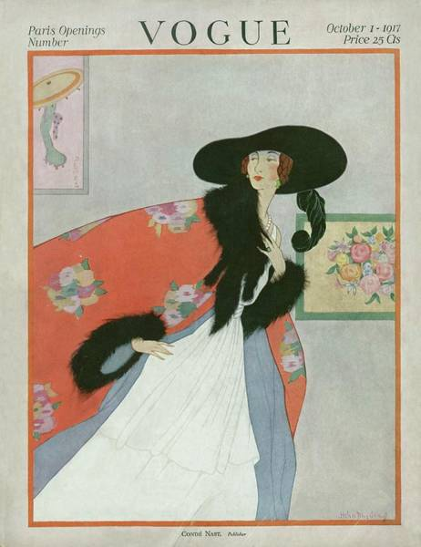 Luxury Photograph - A Vintage Vogue Magazine Cover Of A Woman by Helen Dryden