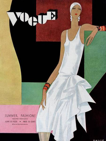 Fashion Photograph - A Vintage Vogue Magazine Cover Of A Woman by William Bolin