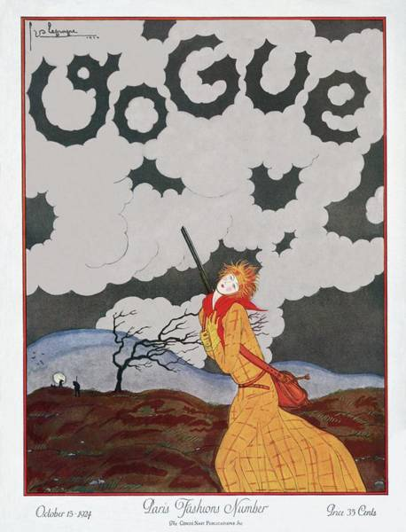 Wind Photograph - A Vogue Magazine Cover Of A Woman by Georges Lepape