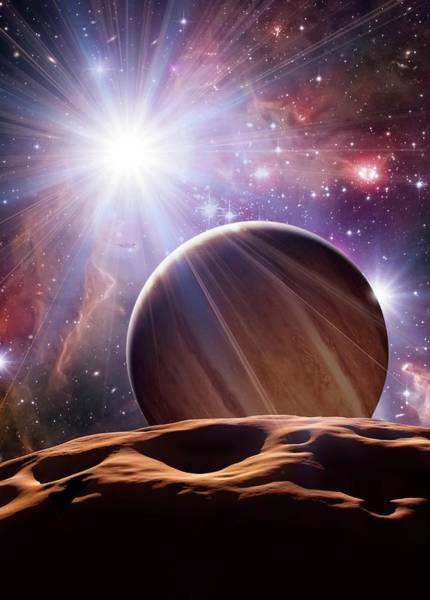X Wing Photograph - Alien Planet And Star Cluster by Detlev Van Ravenswaay