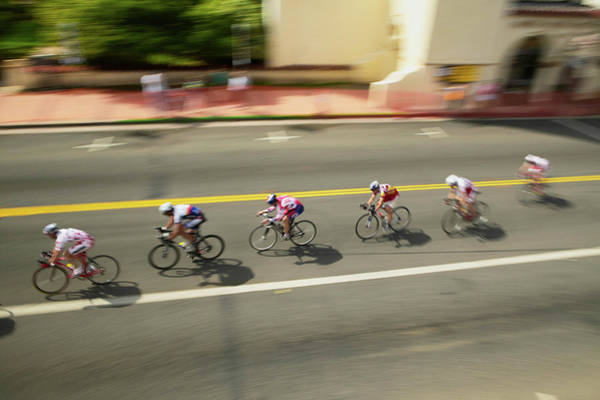 Bicyclist Wall Art - Photograph - Amateur Men Bicyclists Competing by Panoramic Images