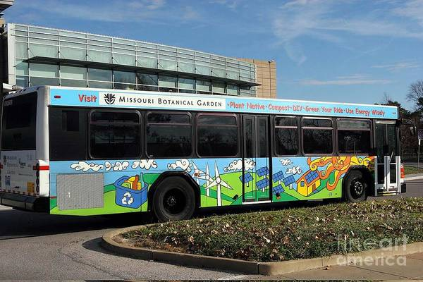 Recycling Painting - Ameren Missouri And Missouri Botanical Garden Metro Bus  by Genevieve Esson