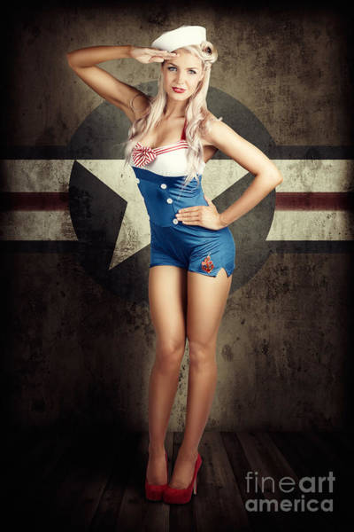 Wall Art - Photograph - American Fashion Model In Military Pin-up Style by Jorgo Photography - Wall Art Gallery