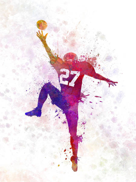 Wall Art - Painting - American Football Player Man Catching Receiving by Pablo Romero