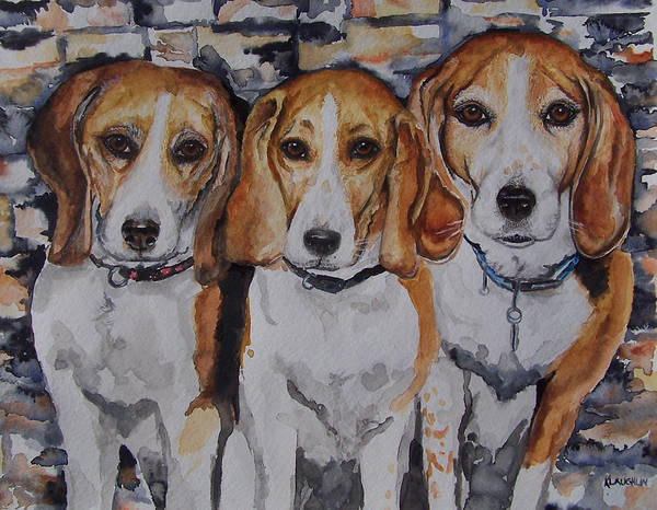 Painting - 3 Amigo Beagles by Kathy Laughlin