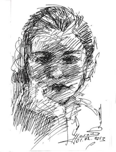 Heads Drawing - ana by Ylli Haruni