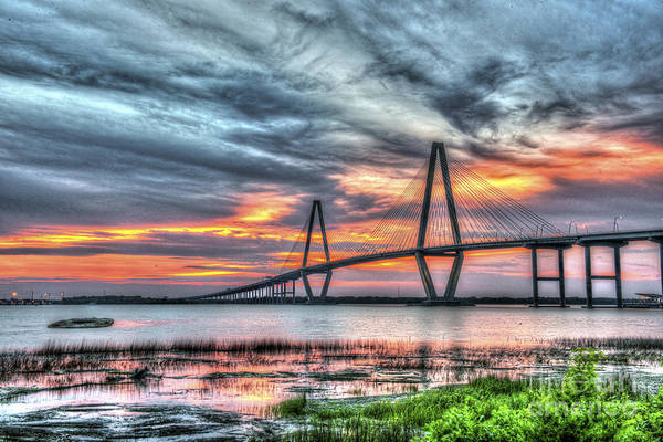 Photograph - Arthur Ravenel Bridge Stormy Skies by Dale Powell