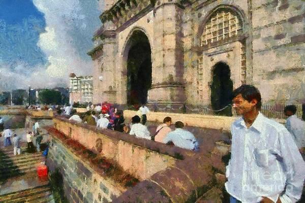 Mumbai Painting - At The Gateway Of India by George Atsametakis