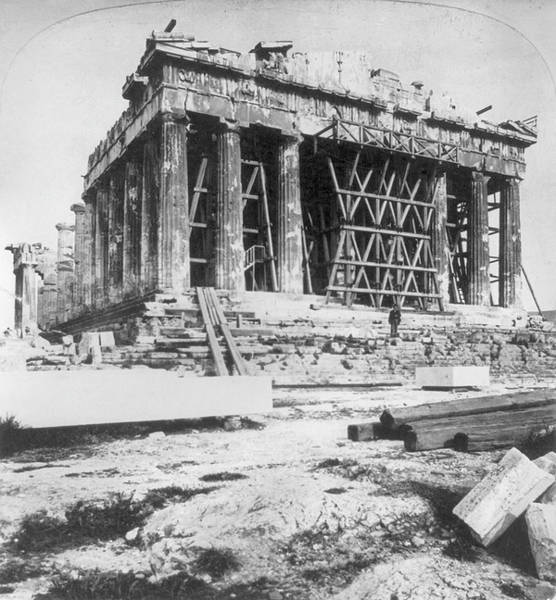 Scaffold Painting - Athens Parthenon by Granger