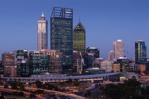 Central Business District Wall Art - Photograph - Australia, Perth, City Skyline by Walter Bibikow