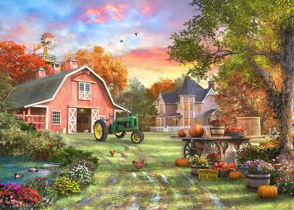 Deere Wall Art - Painting - Autumn Farm by Dominic Davison