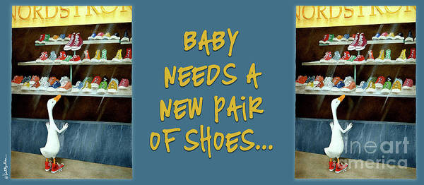 Bullis Painting - baby needs a new pair of shoes...PRINT by Will Bullas