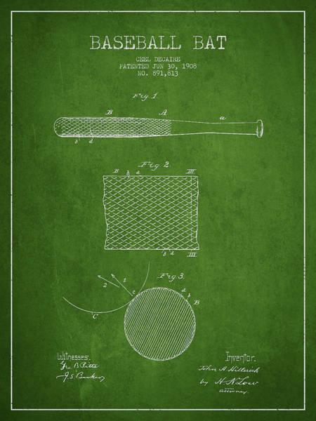 Baseball Bat Patent Wall Art - Digital Art - Baseball Bat Patent Drawing From 1904 by Aged Pixel