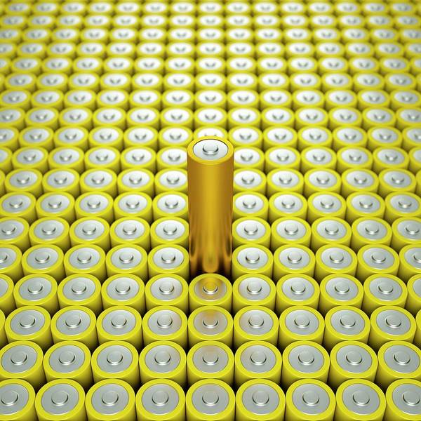 Wall Art - Photograph - Battery Array And Single Supercapacitor. by David Parker/science Photo Library