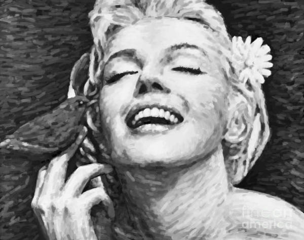 Seductive Painting - Beautifully Happy In Black And White by Atiketta Sangasaeng