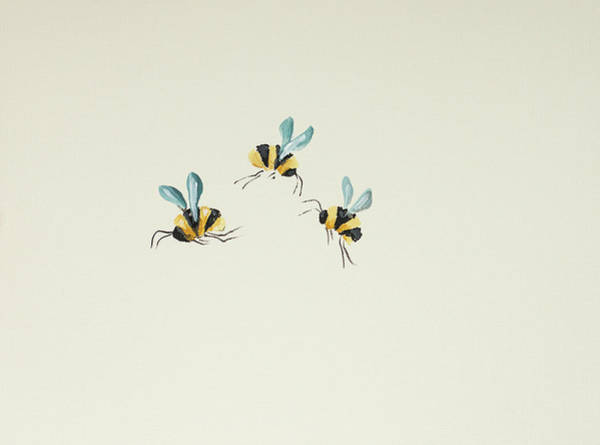 Bumble Bee Wall Art - Painting - 3 Bees by Molly Susan Strong