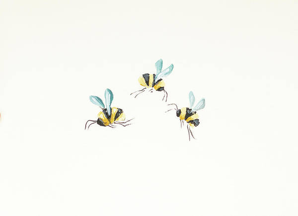 Bumble Bee Wall Art - Painting - 3 Bees On White by Molly Susan Strong