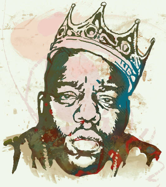 B B King Wall Art - Drawing - Biggie Smalls Modern Art Drawing Poster by Kim Wang