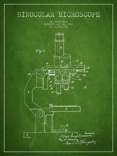 Wall Art - Digital Art - Binocular Microscope Patent Drawing From 1931 - Green by Aged Pixel