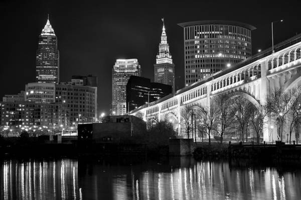 Chicago Skyline Art Photograph - Black And White Cleveland Iconic Scene by Frozen in Time Fine Art Photography