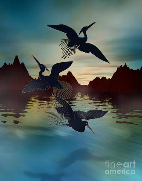 Egret Digital Art - 3 Black Herons At Sunset by Peter Awax