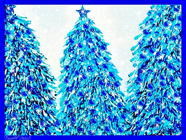 3 Blue Christmas Trees Alcohol Inks  Art Print