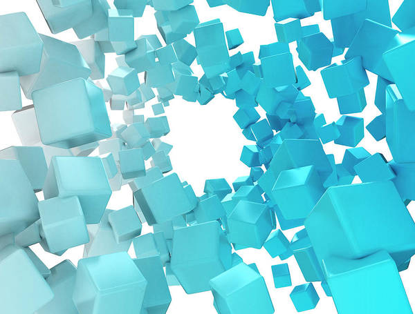 Wall Art - Photograph - Blue Cubes by Jesper Klausen / Science Photo Library