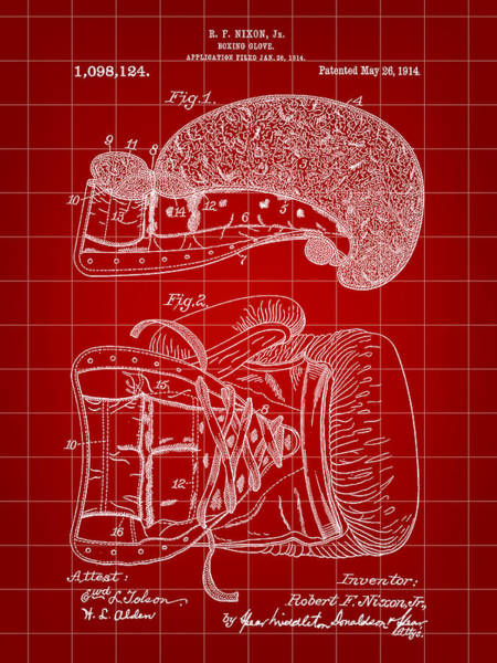 Count Digital Art - Boxing Glove Patent 1914 - Red by Stephen Younts