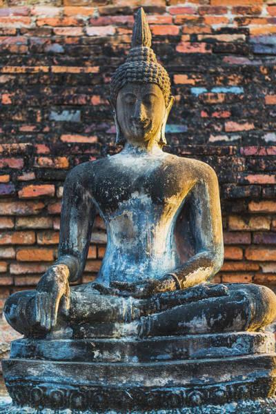 Statue Photograph - Buddha Statue In Sukhothai, Thailand by Deimagine