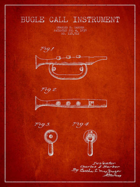 Bugling Wall Art - Digital Art - Bugle Call Instrument Patent Drawing From 1939 - Red by Aged Pixel