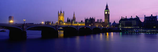 Houses Of Parliament Wall Art - Photograph - Buildings Lit Up At Dusk, Big Ben by Panoramic Images