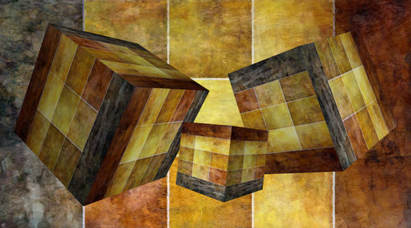 Mixed Media - 3 By 3 Gold Cubed by Angelina Tamez