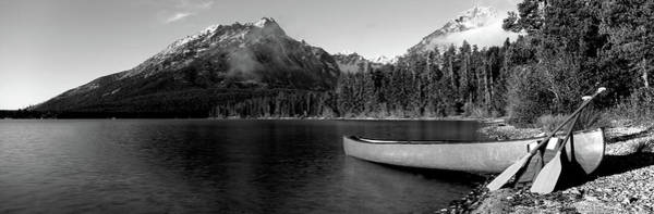 Primary Colors Photograph - Canoe In Lake In Front Of Mountains by Panoramic Images
