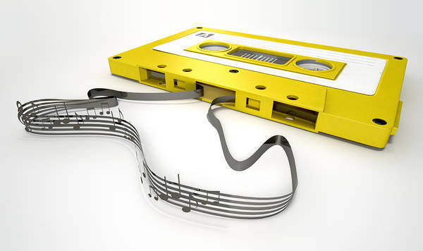 Play Music Digital Art - Cassette Tape And Musical Notes Concept by Allan Swart