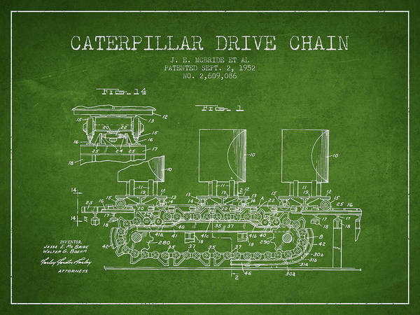 Construction Digital Art - Caterpillar Drive Chain Patent From 1952 by Aged Pixel