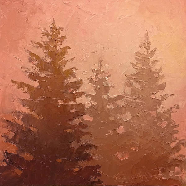 Monochromatic Painting - 3 Cedars In The Fog No. 1 by Karen Whitworth