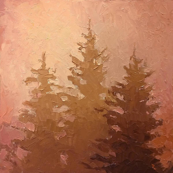Monochromatic Painting - 3 Cedars In The Fog No. 2 by Karen Whitworth
