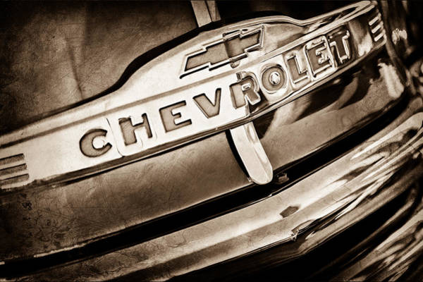 Chevy Truck Wall Art - Photograph - Chevrolet Pickup Truck Grille Emblem by Jill Reger