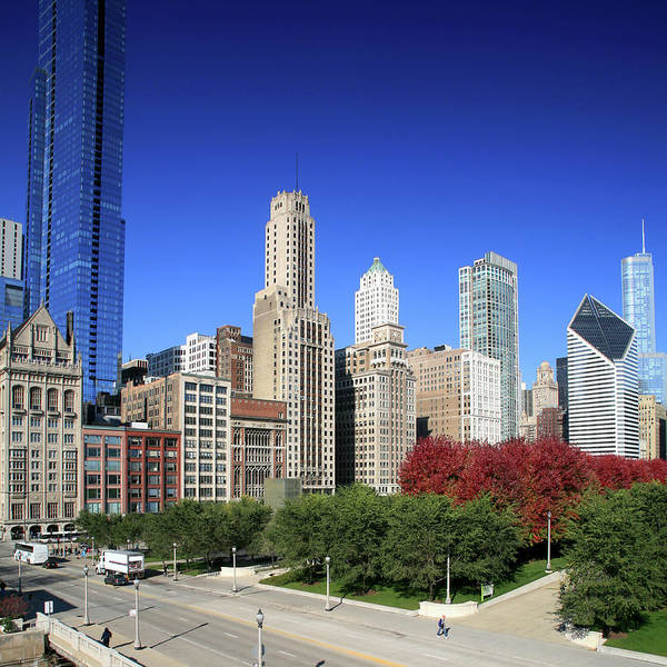 Square Mile Wall Art - Photograph - Chicago Skyline And Millennium Park by Hisham Ibrahim