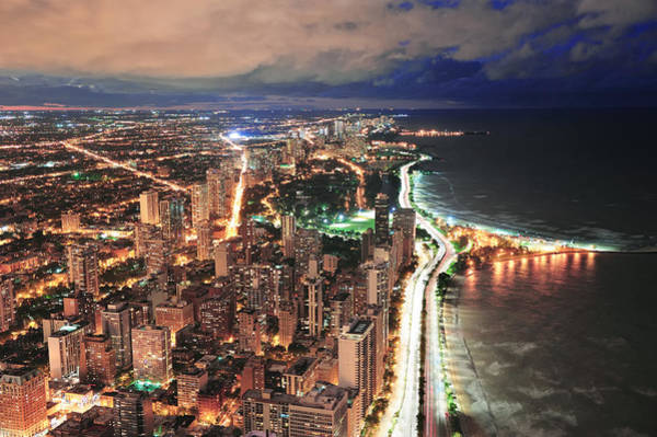 Photograph - Chicago Skyline Panorama Aerial View by Songquan Deng