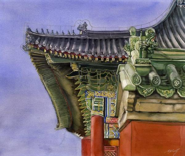 Painting - Chinese Roof by Alfred Ng