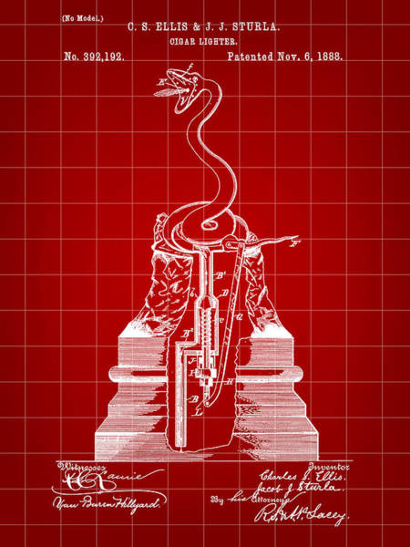 Indonesia Digital Art - Cigar Lighter Patent 1888 - Red by Stephen Younts
