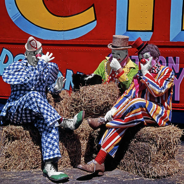 Skunk Photograph - 3 Circus Clowns Holding Their Noses by Vintage Images
