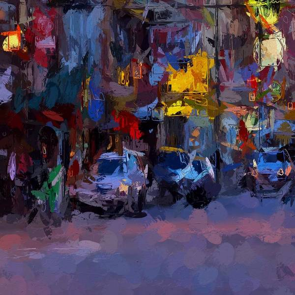 China Town Painting - City Lights by Steve K