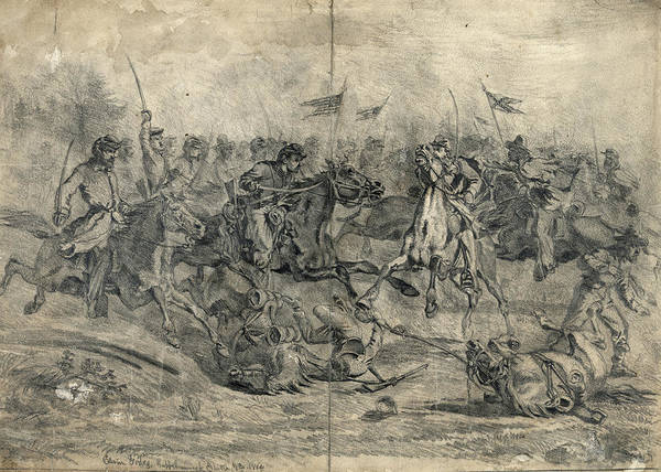 Confederate Soldier Drawing - Civil War Brandy Station by Granger