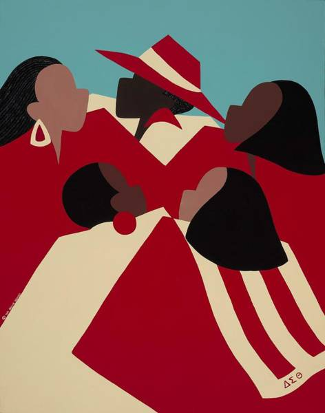 African Women Painting - Crimson And Cream by Synthia SAINT JAMES