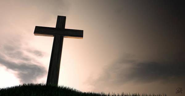 Christianity Digital Art - Crucifix On A Hill At Dawn by Allan Swart